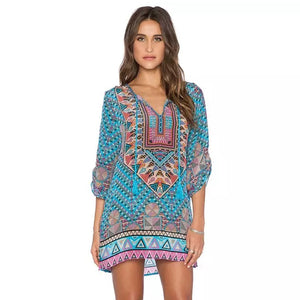 Retro Geometric Printing Casual Dress