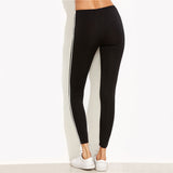 Black Striped Side Ladies Ankle-Length Skinny Bottoms Leggings