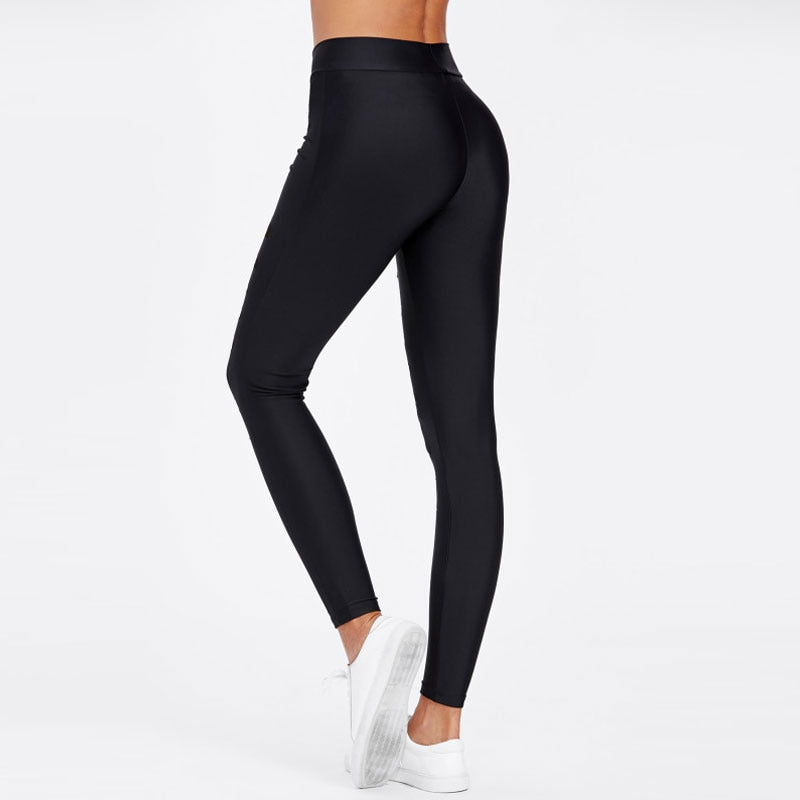 Black Mesh Insert Ripped Leggings Mid Waist Casual Fitness Leggings Pants