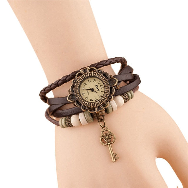 Casual Dress Vintage Leaf Beads Wristwatch
