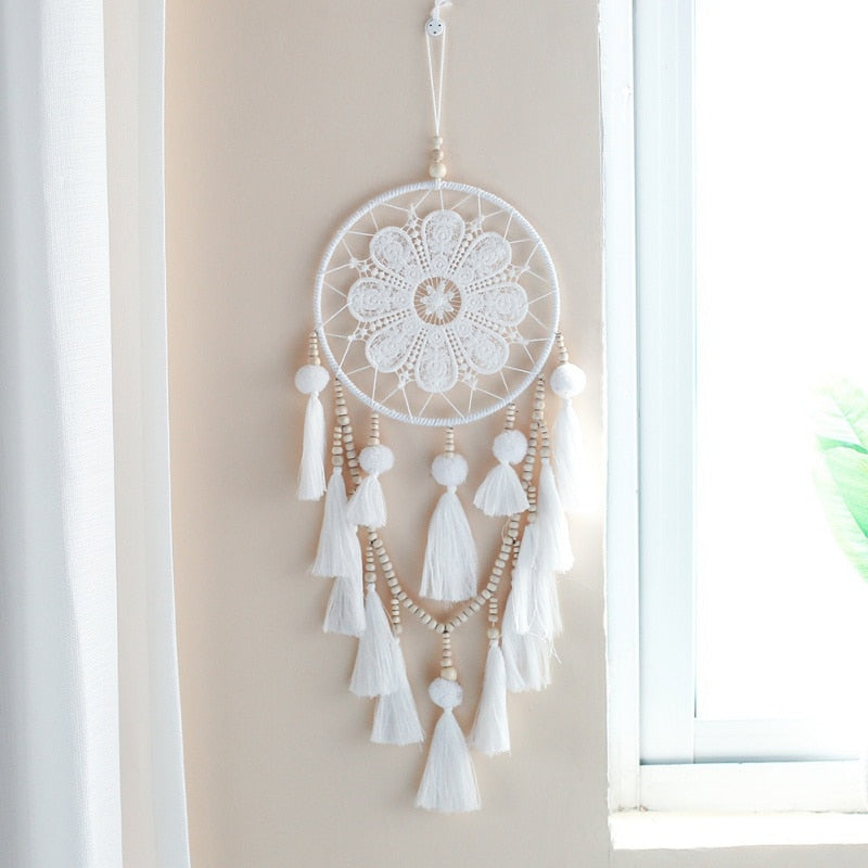Handmade Indian Style Woven Wall Hanging Decoration White Dreamcatcher