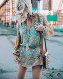 Boho Hippie Flower Print Mini Dress