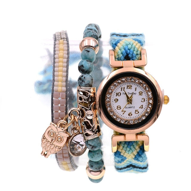 Boho style 2pcs beads bracelets  combination Wrist watches