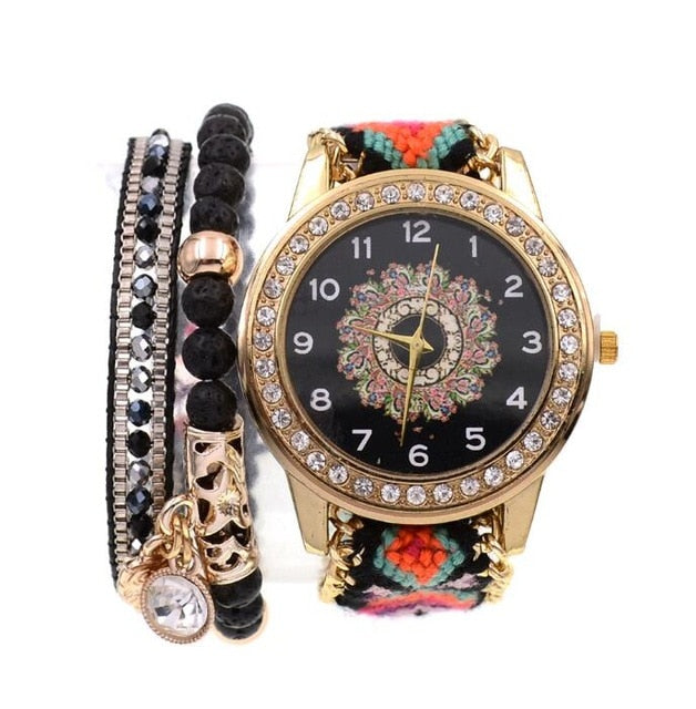 BOHO style 2pcs beads bracelets  Wrist watches