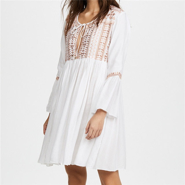 Sexy Deep V Neck Self Tie Patchwork White Cotton Boho Dress