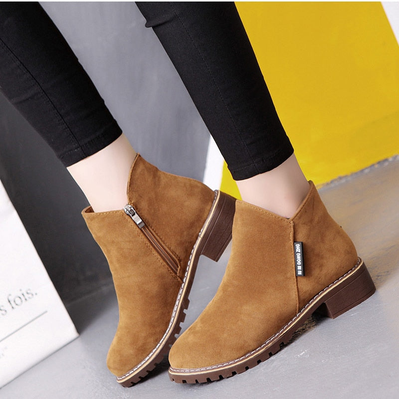 Low Heels Zipper Scrub Platform Ladies Black Short Ankle Boots