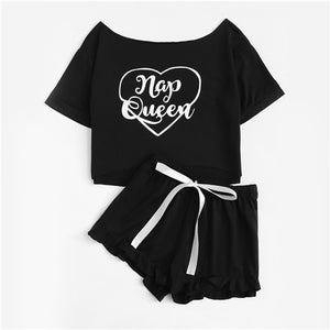 Letter Knot Ribbon Graphic Short Sleeve Tee & Ruffle Shorts PJ Set