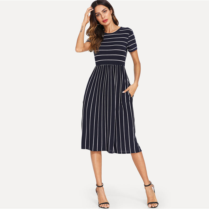 Navy Elegant Round Neck Short Sleeve Mixed Stripe Natural Waist Smock Dress