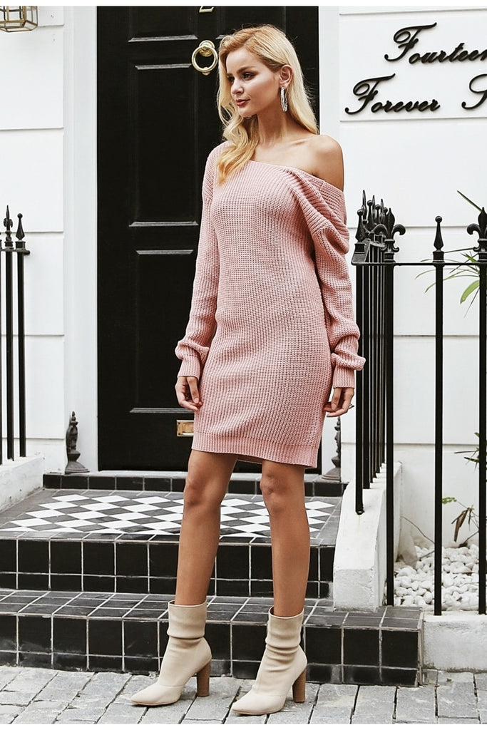 Off shoulder knitted Backless cross dress