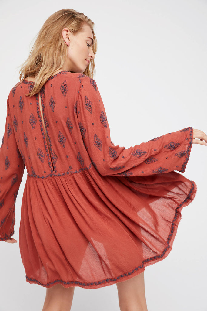 Embroidered Flare Long Sleeve Shirt Blouse