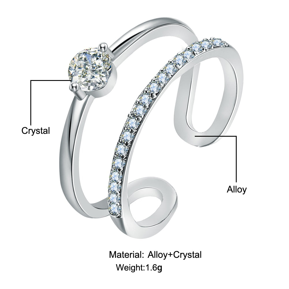 Cubic Zirconia Round Crystal Ring