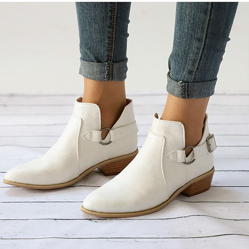 Women Low Heel Shoes Buckle Clog Heels Casual Slip On Ankle Boots