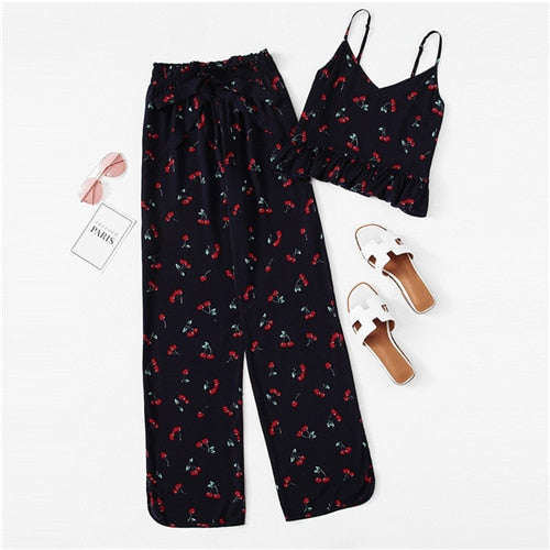 Cherry Print Ruffle Cami Pants PJ Set