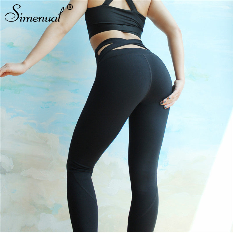 Simenual Crisscross push up leggings polyamide black fitness