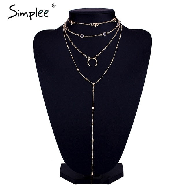 Simplee Chic moon multilayer statement necklace