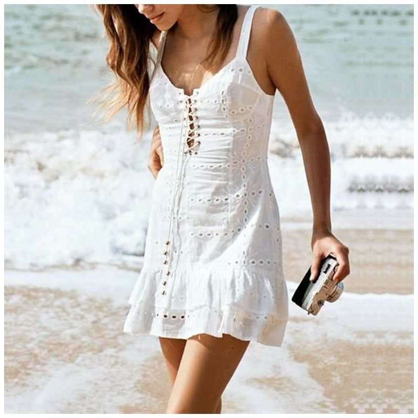 Bohemia Lace Up White Solid Mermaid Dress