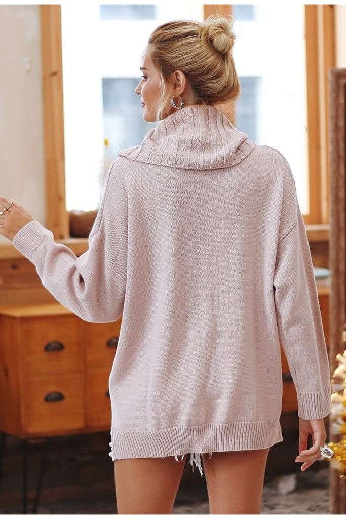 Beading turtleneck pearl plus size sweater