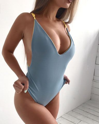 One Piece Solid Reversible Bathing Suit Sexy Piece Swimsuit Halter Monokini