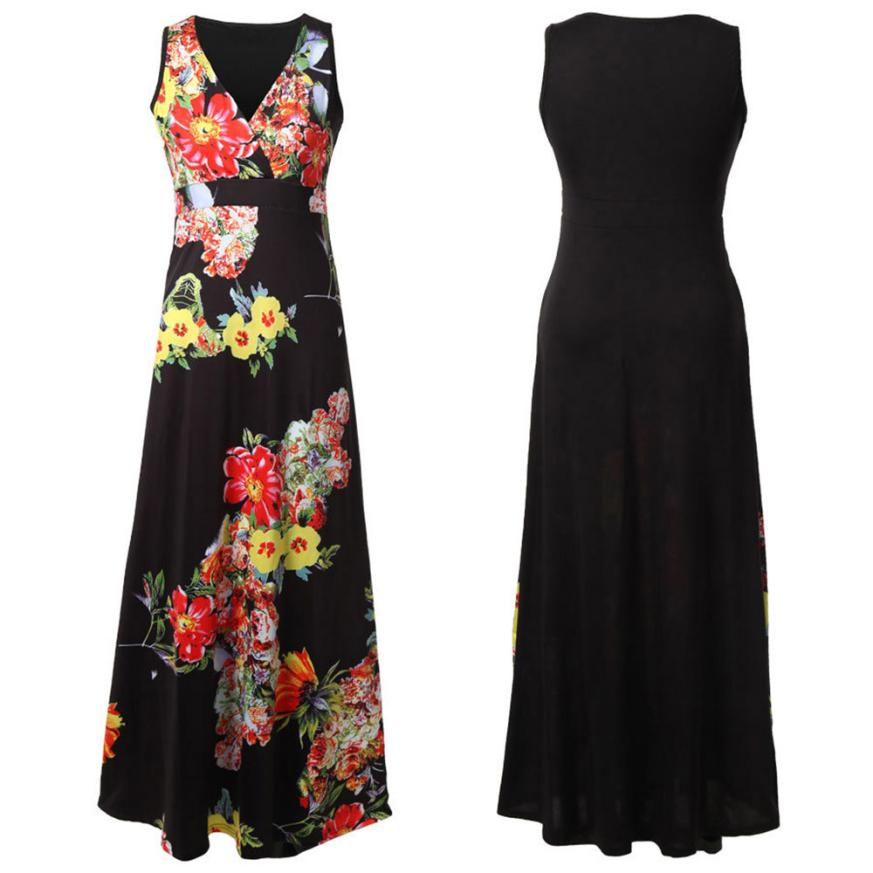 Sleeveless Sheath Cocktail Party Floral Boho Maxi Dress