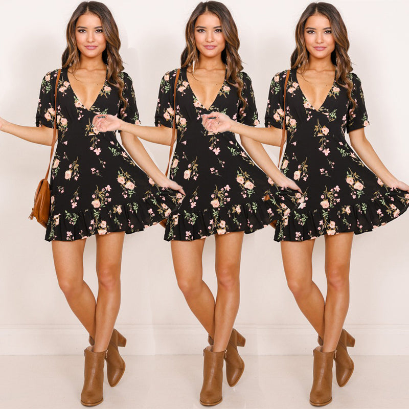 Mini Boho Floral Sexy Sleeve V neck A-Line dress