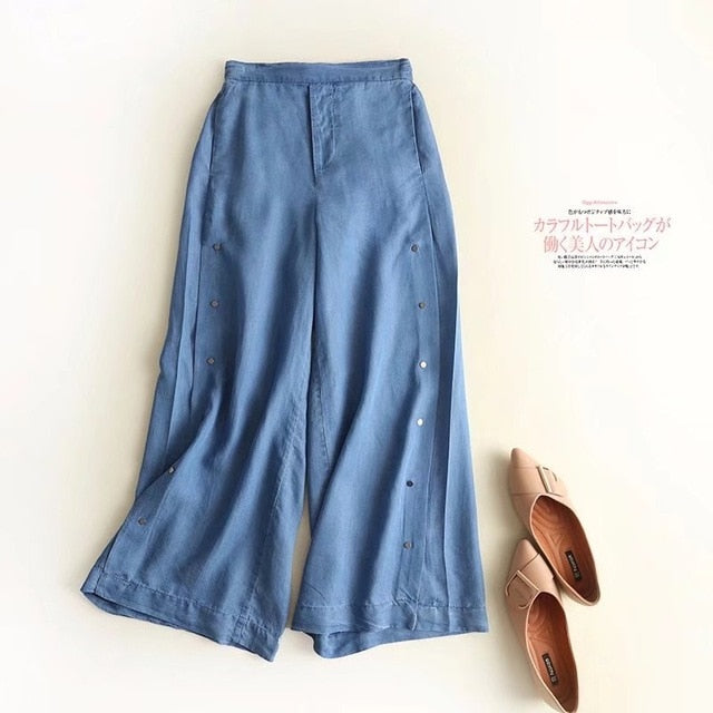 Denim wide and side button pants
