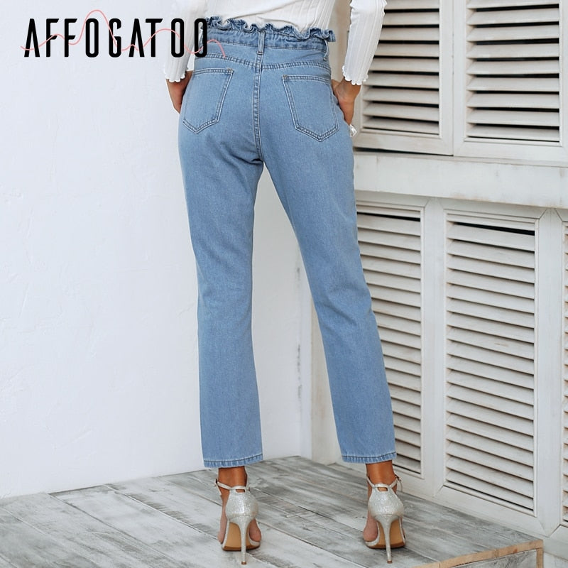 Casual pleated push up High waist light blue jeans