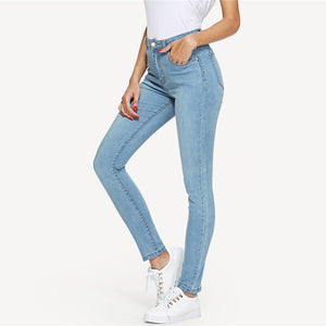 Blue Button Fly Mid Waist Spring Skinny Solid Jeans