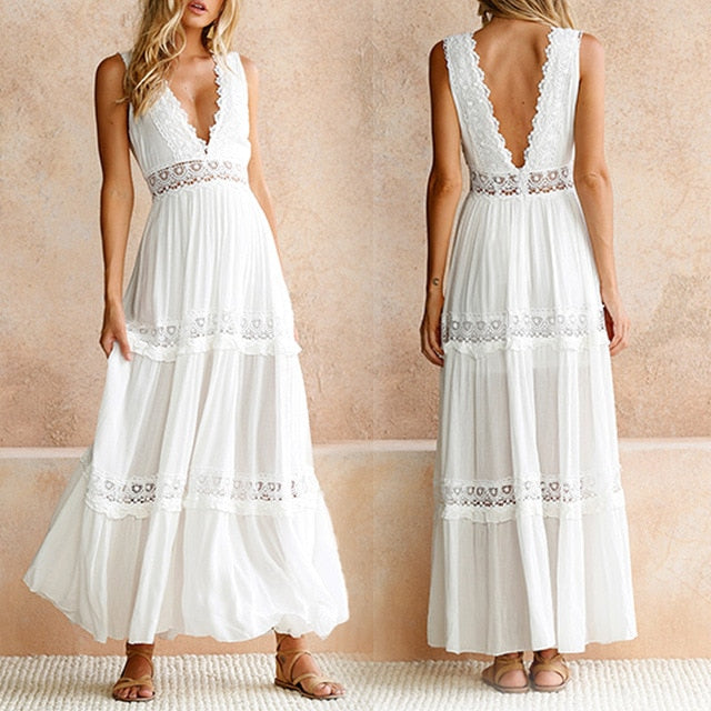 Deep V Elegant White Lace Backless Hollow Out Long Maxi Dresses