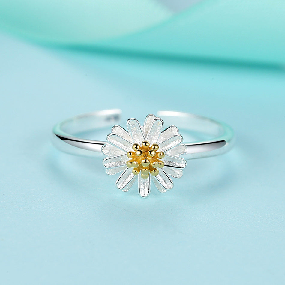 925 Sterling Silver Daisy Flower Finger Open Rings
