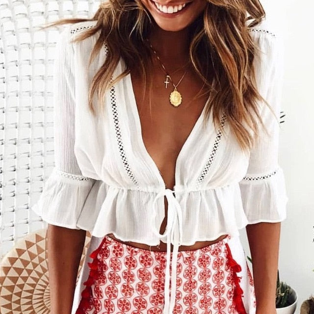 Bohemia White Flare Sleeves Crop Top