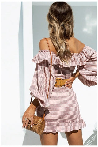 Bohemia Off Shoulder Stripe Flounce Sexy Ruffles Dress