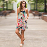Summer Vintage Boho Maxi Evening Party Beach Floral Sleeveless A-Line dress