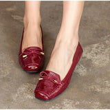 Sewing Bowtie Moccasins Elastic Band Soft Ballerinas Shoes