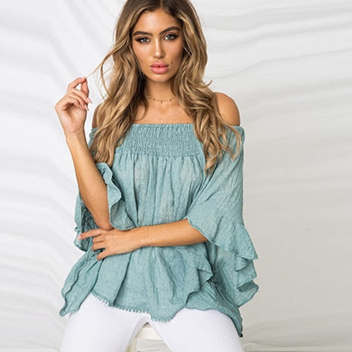 Ruffles Off Shoulder Leaf Print Boho Blouses