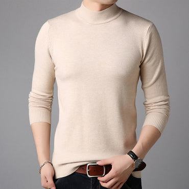 Cashmere Full Sleeve Pull Men Solid Color Pullover Sweater