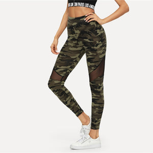 Multicolor Mesh Insert Camo Patchwork Print Leggings Sporting