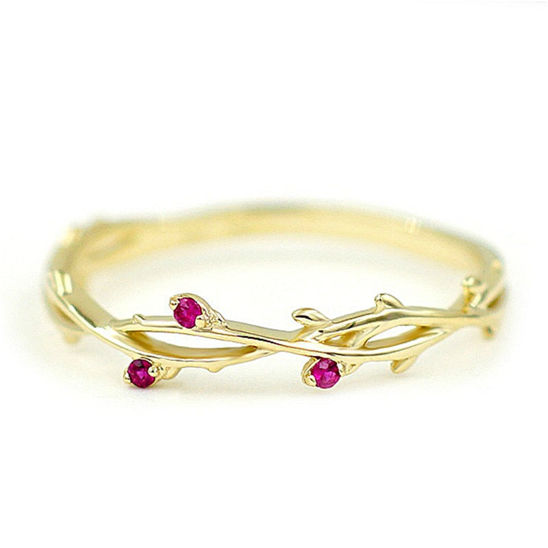 Cute Dainty Branch Plated Rose Zircon Ring