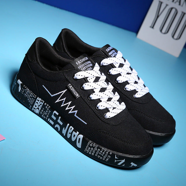 Casual Ladies Lace-up Breathable Walking Canvas Graffiti Flat Sneakers