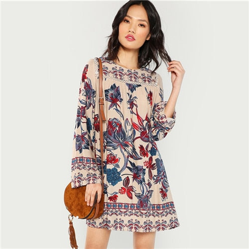 Multicolor Lace Eyelet Flower Print Botanical Short Dress