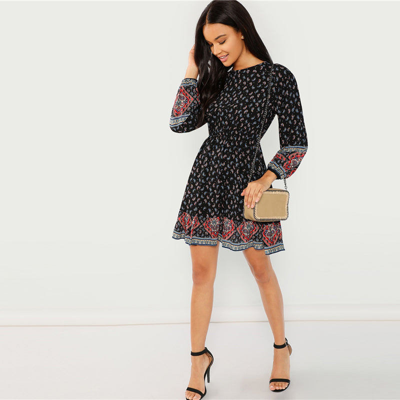 Black Vacation Casual Boho Bohemian Beach Paisley Print Ruffle Hem Long Sleeve Dress