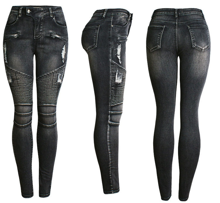 Zipper High Waist Skinny Jeans Woman Denim Pencil Black Jeans