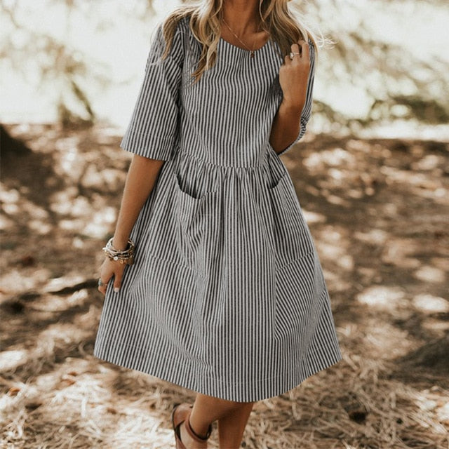 Summer Elegant O Neck Half Sleeve Pockets Striped Dress