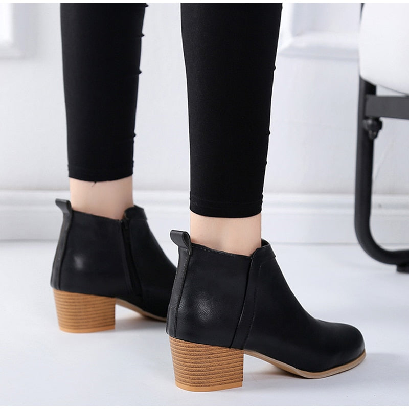 Zipper Chunky High Wood Heels Ankle Boots