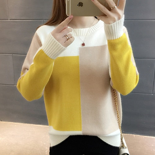 Autumn Patchwork Knitted Long Sleeve Pullover Sweater