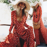 Polka Dot Boho Party Empire Sundress Long Sleeve Beach dress