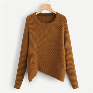 Brown Rib Knit Asymmetrical Hem Sweater