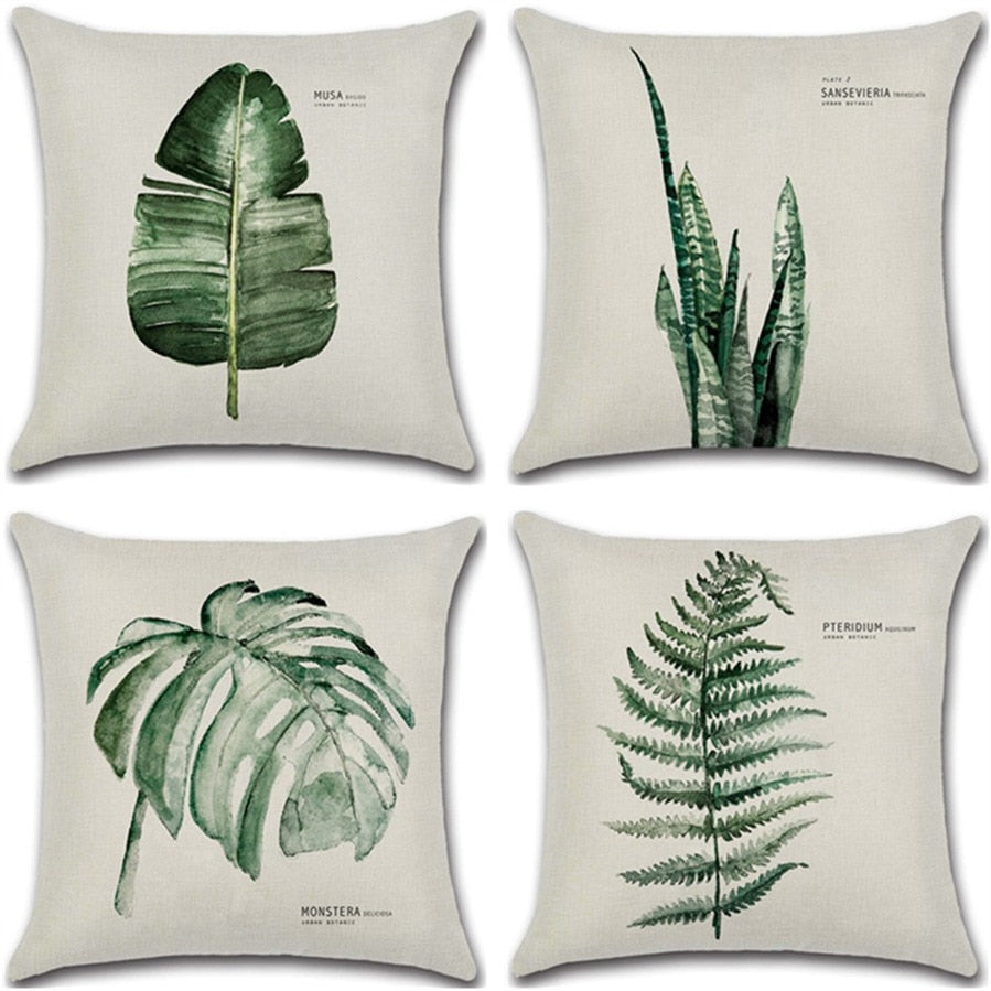 Linen Throw  Green Leaf Print Cushion Cover