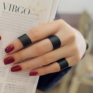 3 pcs Black Stack Plain Above Knuckle Band Mini Rings