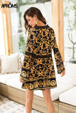 Floral Print Lace Velvet Dress Women Boho V Long Sleeve Hollow out Loose A-line Dress