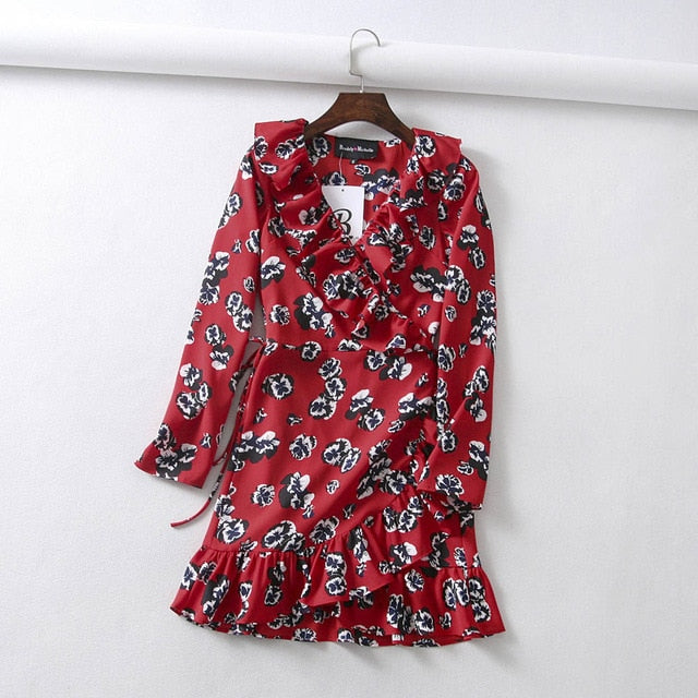 Vintage Sexy Long Sleeve Ruffles Mini Printed Dress
